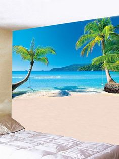 Sea Beach Scenery Pattern Wall Hanging Art Tapestry - BLUE IVY W91 INCH * L71 INCH