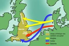 This map point out the Germanic tribes that came to England in a very easy to understand way. The English language is heavily influenced by the native languages of these tribes. Anglo Saxon History, European History, British History, World History, Ancient History, Family History, Asian History, Tudor History, Ancient Aliens