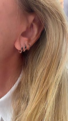 Rose Gold Hoops, Minimalist 14k Gold Huggie Cartilage Hoop Earrings, Unique Fine Gold Jewelry, Available in Yellow/Rose/White Gold in various rectangle-shaped Enamel colors - Red, Black, White, Pink or Turquoise!