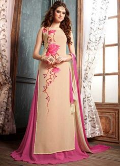 Peach Pink Flower Printed Georgette Designer Long Anarkali Salwar Kameez http://www.angelnx.com/Salwar-Kameez/Anarkali-Suits