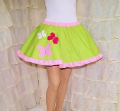 MLP Fluttershy Equestria Girl Applique Circle Skirt Adult ALL Sizes - MTCoffinz