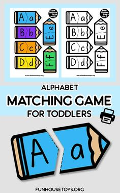 This easy Alphabet, Letter Sound and Number Matching Game is just perfect for preschooler. Learning the Capital and Lower Case Letter that belong together. Get these printables in color or black and white version. Fun Printables For Kids, Preschool Printables, Preschool Kindergarten, Preschool Crafts, Teaching Letters, Learning The Alphabet, Student Teaching, Teaching Ideas, Abc Activities