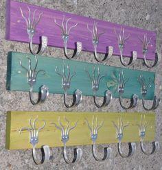 Three 5 Funky Forks Coat Racks OH YEAH purple turquoise green. $160,00, via Etsy.