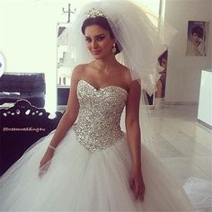 Wholesale Bling Bling 2014 Ball Gown Wedding Dresses Plus Size Sweetheart With Crystal Sequins Lace up Back Sweep Train Tulle Bridal Gowns, Free shipping, $163.36/Piece   DHgate Mobile
