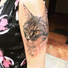 amazing realistic cat color portrait by Ritchey Tattoo Anansi Munich Artist Munich Germany
