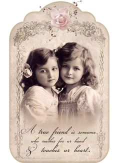 Vintage girls Friendship Digital collage p1022 Free for personal use <3