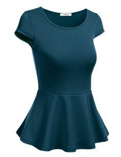 Simlu Short Sleeve Womens Peplum Shirt Reg. and Plus Size Peplum Top Made in USA