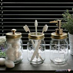 Kilner Jar Vintage Retro Bathroom Accessory Gift Set in Glass with Gold Tops in Home, Furniture & DIY, Bath, Bath Accessory Sets | eBay!