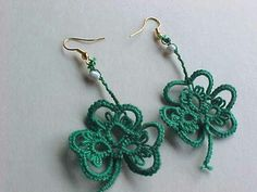 Kelly Green Shamrock Tatted Earrings by Dove Country Tatting.  New to my EBay Store - $3.14