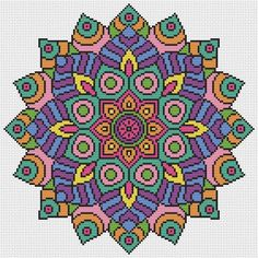 Mandala Cross Stitch Kit - Colourful Geometric Modern Cross Stitch DMC Threads