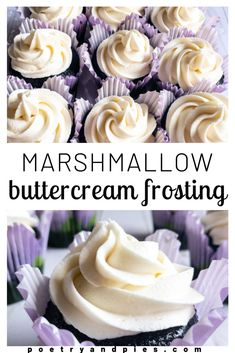 Creamy, fluffy, marshmallow-y frosting. Delicate yet sturdy enough to frost and fill a cake, this recipe comes together in ten minutes and adds a great twist to any cake. Marshmallow Frosting Recipes, Homemade Marshmallow Fluff, Best Buttercream Frosting, Cupcake Recipes, Baking Recipes, Cupcake Cakes, Marshmallow Frosting With Fluff, Baking Ideas, Cupcake Frosting Recipes