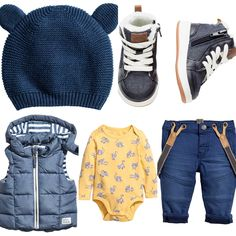 Baby boy outfit idea H&M 2017 winter-spring collection. Yellow body, blue twill trousers with braces, blue padded vest, blue trainers and navy hat with ears.