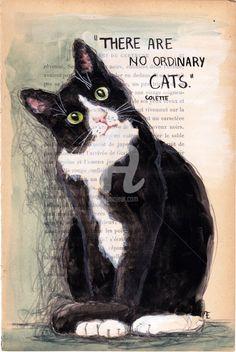 NO ORDINARY - VENDU - SOLD - Painting,  19x28.5 cm ©2015 by evafialka -                                                                                    Figurative Art, Impressionism, Paper, Animals, Cats, painting, impressionnisme, animal portrait, quote, citation, cat, chat