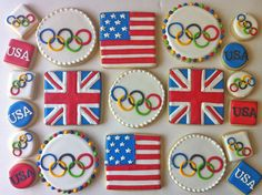 Olympic rings, British flag, American flag decorated cookies, by Hayley Cakes… Cut Out Cookies, Cute Cookies, Cupcake Cookies, Sugar Cookies, Cupcakes, Cake Decorating Supplies, Cookie Decorating, British Cookies, Cookie Designs