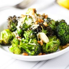 Roasted Broccoli with Garlic, Lemon, Pine Nuts & Parmesan