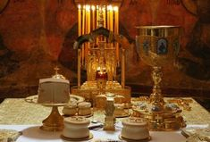 All of the elements needed for Holy Communion. Unlike other parts of Christiany, in the Orthodox church Bread and Wine are put in the same cup and the communicant gets both at the same time. For a very good reason. Orthodox Easter, Russian Culture, Orthodox Christianity, The Kingdom Of God, Communion, My Images, Holi, Faith, This Or That Questions