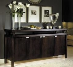 Dining and Kitchen, Large And Dark Room With Black And Big Espresso Sideboard With The Cute And Beautiful Design Ideas That Look So Elegant With Some Pictures With Two Flower Vase And Some Accessoreis  ~ Furnish Your Neat And Elegant Dining Room With Espresso Sideboard