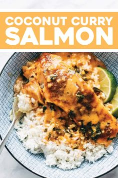 Coconut Curry Salmon! Broiled salmon with a salty-sweet spice rub, creamy coconut curry sauce, and steamy rice to soak it all up. YUM. #curry #coconut #salmon