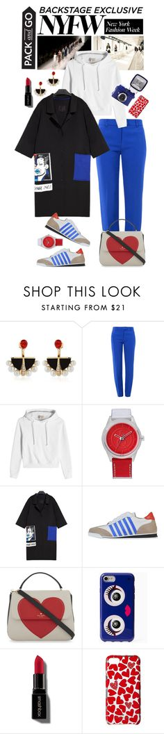 """Pack for NYFW"" by shortyluv718 ❤ liked on Polyvore featuring Lalique, Boutique Moschino, Vetements, SmileSolar, Dsquared2, Kate Spade, Smashbox, NYFW, sneakers and Hoodies"