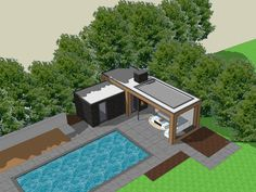 Poolhouse Cuijk Impression 4 chris kokke architect, … - All For Herbs And Plants Pool Gazebo, Backyard Pool Landscaping, Small Backyard Pools, Backyard Patio Designs, Swimming Pools Backyard, Outdoor Pergola, Swimming Pool Designs, Outdoor Pool, Modern Pool House
