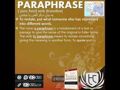 ویدیوکارت کلمه paraphrase از کتاب Verbal Advantage – درس ۱