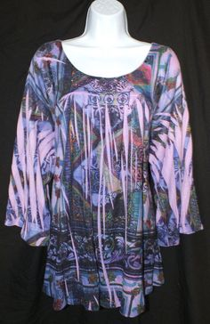 UNITY WORLD WEAR Casual Sublimation Print  Womens Top Blouse Size 3x Plus #UnityWorldWear #Blouse #Casual