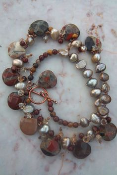 Spotted chalcedony and moukaite necklace with by mooliemarket, $45.00