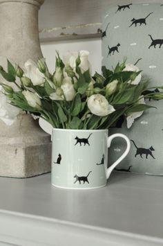 Black Cat & Bone Coloured (green) fine bone china mug from Sophie Allport