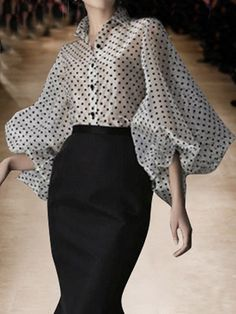 Shop White Lapel Polka Dot Print Puff Sleeve Chic Women Sheer Shirt from choies…. – 2020 Fashions Womens and Man's Trends 2020 Jewelry trends Look Fashion, Fashion Design, Fashion Trends, Daily Fashion, Fashion Fashion, High Fashion, Fashion Jewelry, Sheer Shirt, Mode Hijab