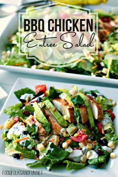 This Barbeque Chicken Entree Salad with Cilantro Ranch Dressing recipe is an easy weeknight dinner that's refreshing and budget-friendly. It's one of my favorite dinner recipes that's full of SO much flavor! #FOODFOLKSANDFUN