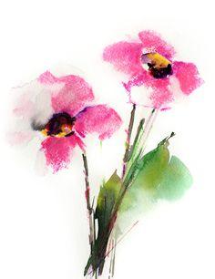 Flores de color rosado brillantes Original pintura acuarela