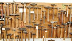 A small selection of Ron Jensen's hammers hang on a . Antique Tools, Old Tools, Vintage Tools, Tool Sheds, Tool Box, Metal Working, The Originals, Antiques, Wood