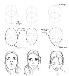 Easy face drawing tutorial with construction lines by AlicjaNai Pencil Art Drawings, Art Drawings Sketches, Easy Drawings, Dress Sketches, Realistic Drawings, Drawing Lessons, Drawing Techniques, Portrait Au Crayon, Pencil Portrait