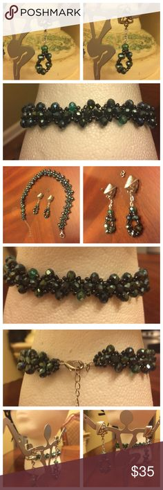 WOW!!! Simply Elegant Handmade Beaded choker Set WOW!!! Simply Elegant Handmade Beaded choker with matching earrings. Color is Aquamarine/dark Greenish beads. New and Never been used. See measurements in photos attached here. Silver hardware. No hold and no trade. Handmade Jewelry Necklaces