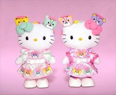 New arrival Hello Kitty & Mimmy Plush dolls Puroland Japan exclusive set of two