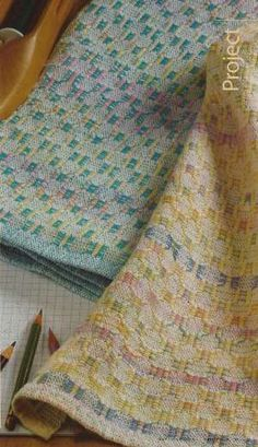"""Cotton Clouds Mail Order Yarns: Baby Blankets   M's & O's Kit makes two hemmed baby blankets 32"""" x 35"""", using a 4-shaft 38"""" wide loom & 10 dent reed."""