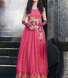 Buy Peach Embroidered Soft  Net semi stitched Gown party-wear-gown online