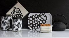 Pässi series. Tin conteiner, tray, disch cloth Aarikka home decor
