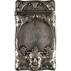 Antique Sterling Silver Match Safe c.1900 Gorham Bacchus Head Grape Vines from Stone House Antiques on Ruby Lane