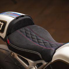 "It's all about the Details. The R Ninetini by VTR. Based on a R Nine T. Handmade saddle by Sattlerei Knobel. Kineo Wheels (Rear Wheel 6""), Street Legal K&N Airfilters, Custom Martini Painting, handpainted logos and lettering, Öhlins shocks etc. #ninet #custom #bikebuilders #swissmade"