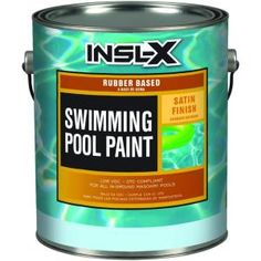 Insl-X 1 gal. The Insl-X 1 gal. Satin Rubber-Based Aquamarine Swimming-Pool Paint is a low-VOC and waterproof formula designed specifically for in-ground masonry pools.
