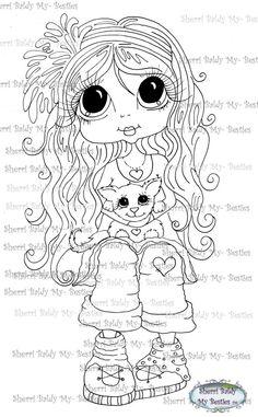 INSTANT DOWMLOAD Digital Digi Stamps Big Eye Big Head Dolls Digi  My Besties IMG053 By Sherri Baldy