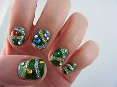 glitter and gem Christmas nails! YAY! #CHristmas #nailart #nailpolish {Hey, have you downloaded the FREE Sweater-izer App yet? It's awesome fun if you like a tacky Christmas sweater! Check it out: http://funistheanswer.com/sweater-izer/
