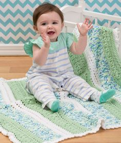 Textured Stripes Baby Blanket Crochet Pattern | Red Heart