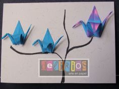 Tarjeta con Grullas Origami by Delirios Arte en Papel