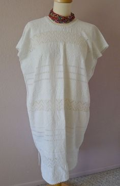 Mexican white huipil dress handwoven