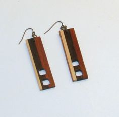 Stylish Rectangular Wood Earrings | eBay