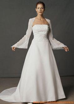Elegantes Brautkleid A-Linie aus Satin lange Ärmel