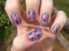 4th of July nails! juli nail, diamonds, nail arts, 4th of july, flag nail, beauti, nails, 4th juli, design