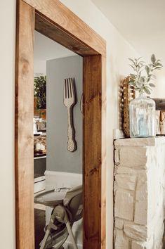 Doorway casing with With Wood Beam Look — Jessica Diana Schlichtman Decor, Wood, Aesthetic Room Decor, Wood Beams, Stained Trim, Wood Trim, Rustic Doors, Wood Door Frame, Door Frame Molding